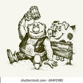 drunkard alcohol pig personage drawing sketch illustration vector
