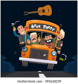 Drunken guys go to a concert with a beer. Vector illustration 10 eps