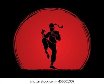 Drunken Kung fu pose designed on sunset background graphic vector.