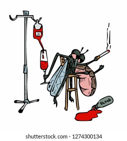 drunken mosquito on stool with a glass of blood in his paw. vector illustration.