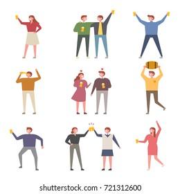 drunken people tall ratio character vector illustration flat design