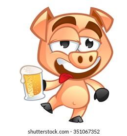Drunken pig, he has a beer glass