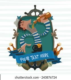 Drunken sailor Emblem, vector