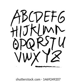 dry brush alphabet font set made by real brush grunge style vector, Isolated vector set