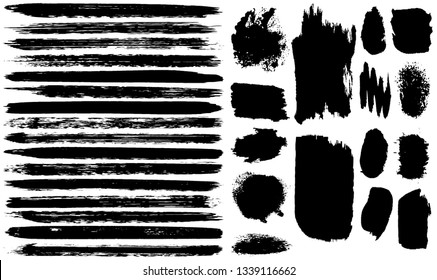 Dry brush strokes. Black stripes on white background. Vector grunge brush. Abstract dark lines. Dirty pattern for background
