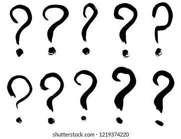 Dry brush strokes, hand drawn vector question marks