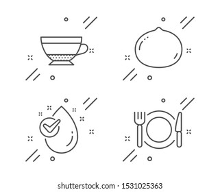 Dry cappuccino, Macadamia nut and Water drop line icons set. Restaurant food sign. Beverage mug, Vegetarian food, Clean aqua. Cutlery. Food and drink set. Line dry cappuccino outline icon. Vector