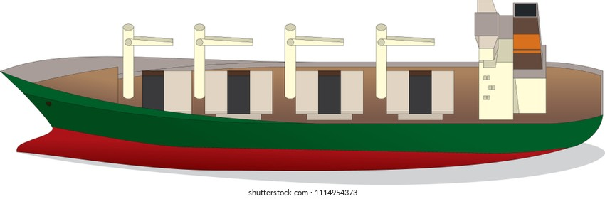 Dry cargo ship with open holds side view, isolated on white. Vector