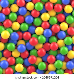 Dry children's pool with colorful plastic balls vector background.