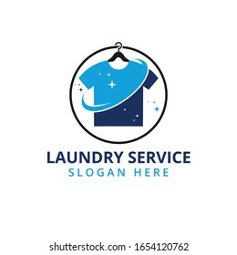 dry and clean laundry service vector logo design template