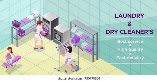 Dry cleaners or laundry service banner, isometric 3d illustration with washing and ironing machines, laundress, vector interior of clothes cleaning shop