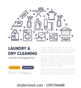 Dry cleaning concept with outline icons for laundry, dry cleaning, housekeeping services. Flat vector design. Modern graphic design. Home appliance. House laundry. Laundry detergent. Copy text space.