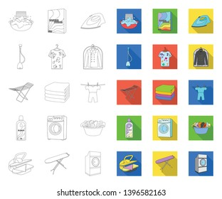 Dry cleaning equipment outline,flat icons in set collection  design. Washing and ironing clothes vector symbol stock web illustration.