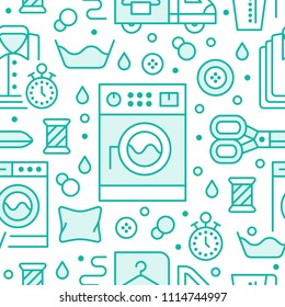 Dry cleaning, laundry blue seamless pattern with line icons. Laundromat service equipment, washing machine, clothing repair, garment delivery. Background for launderette.