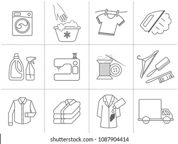 Dry cleaning, laundry and cloth washing service vector linear icons (labels, logos). Drying, ironing symbols, washing machine, stain removing, hanger, folded clothing, delivery, clothes repairing