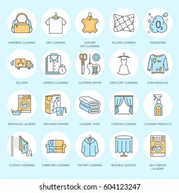 Dry cleaning, laundry line icons. Launderette service equipment, washing machine, clothing shoe and leather repair, garment ironing and steaming. Washing thin linear signs for self-service laundry.
