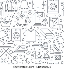 Dry cleaning, laundry seamless pattern with line icons. Laundromat service equipment, washing machine, clothing shoe and leaher repair, garment ironing and steaming. Background for launderette.
