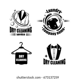 Dry cleaning logo set with jacket, t-shirt and hanger. Vector badges for laundry.