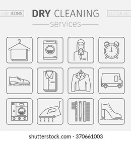 Dry cleaning services. Vector line icons.