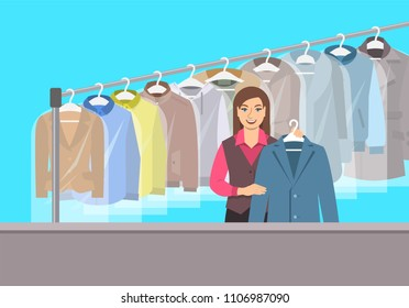 Dry cleaning shop interior. Young girl stands at reception counter and holds clean jacket. Hanging rack with cleaned clothes. Vector flat illustration. Textile cleaner service conceptual background