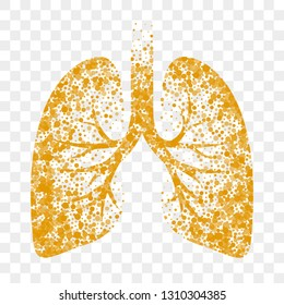 Dry cough vector icon. Lungs, cold dry cough and bronchitis mucolytic remedy
