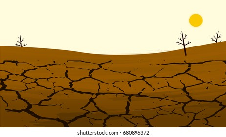 Dry cracked land in the farming field. Rural landscape. Design elements for info graphic, websites and print media. Vector illustrations