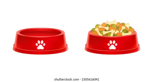 Dry dog food in bowl, Empty cat plate isolated on white background