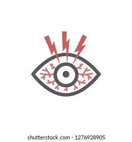 Dry eye syndrome. Vector sign for web graphics.