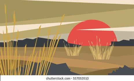 Dry Flat Design Meadow - Vector Illustration