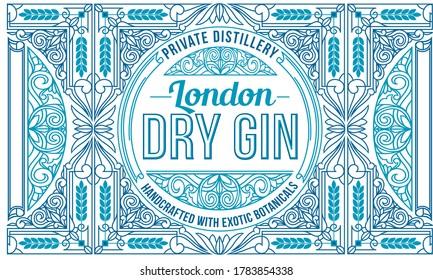 Dry gin - ornate vintage decorative label
