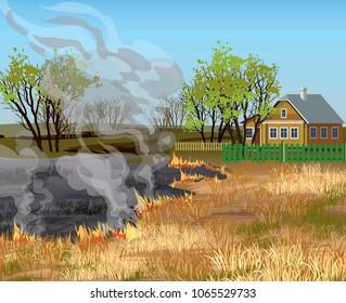 Dry grass field in fire near village house vector illustration.