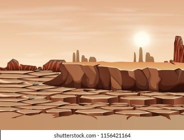 A dry land landscape illustration