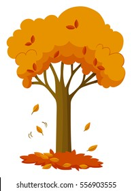 Dry leaves falling off the tree illustration