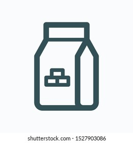 Dry mix plaster isolated icon, cement bag linear vector icon