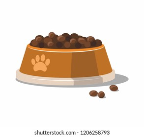 Dry pet food in a metal orange bowl isolated on white background. Vector Illustration