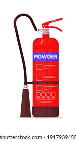 Dry powder fire extinguisher protection equipment isolated