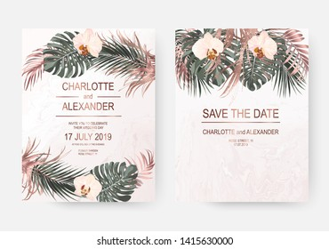 Dry rose gold tropical palm leaves and orchid flowers frames for wedding design on pink marble background.