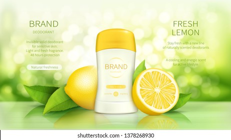 Dry stick deodorant with fresh fragrance vector realistic cosmetic promo poster. Antiperspirant in white plastic tube, green leaves and ripe lemons fruits on natural background with sunshine. Mock up