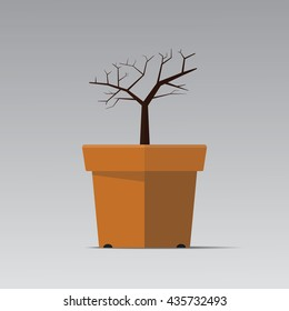 Dry Tree in flowerpot vector flat design.