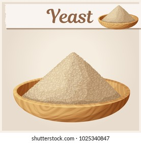 Dry yeast in wooden plate illustration. Cartoon vector icon. Series of food and ingredients for cooking