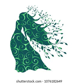 Dryad nymph forest pattern silhouette ancient mythology fantasy