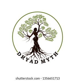 Dryads vector logo template with circle around, illustration of a tree nymph or tree spirit in Greek mythology