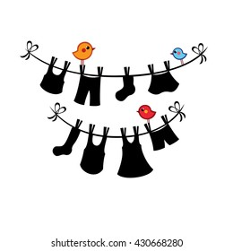 Drying clothes hanging on a washing rope with color little birds around it. Summer vector illustration