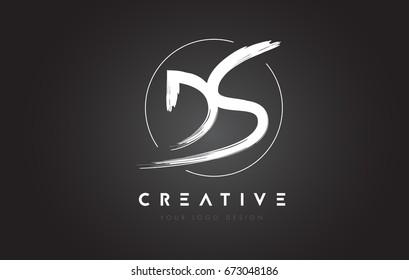 DS Brush Letter Logo Design. Artistic Handwritten Brush Letters Logo Concept Vector.
