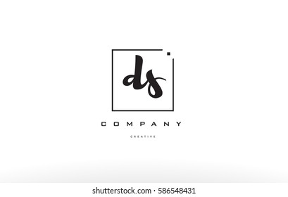 ds d s hand writing written black white alphabet company letter logo square background small lowercase design creative vector icon template