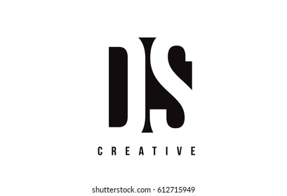 DS D S White Letter Logo Design with Black Square Vector Illustration Template.