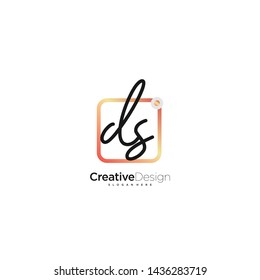 DS initial handwriting with color logo icon template vector.