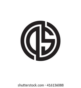DS initial letters linked circle monogram logo
