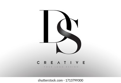 DS ds letter design logo logotype icon concept with serif font and classic elegant style look vector illustration.