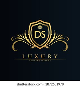 DS Letter Initial with Royal Template.elegant with crown logo vector, Creative Lettering Logo Vector Illustration.